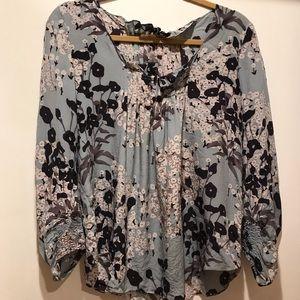 Blue floral Rebecca Taylor blouse